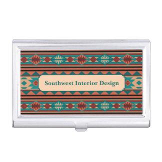Southwest Design Turquoise Terracotta Monogram Business Card Case