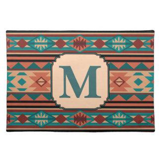 Southwest Design Turquoise Terracotta Monogram Cloth Placemat