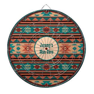 Southwest Design Turquoise Terracotta Monogram Dartboard With Darts