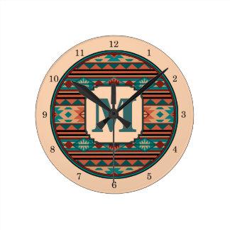 Southwest Design Turquoise Terracotta Monogram Round Clock