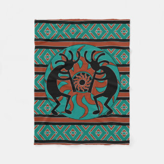 Southwest Design Turquoise Tribal Sun Kokopelli Fleece Blanket