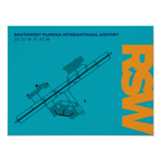 Southwest Florida Airport (RSW) Airport Diagram Poster