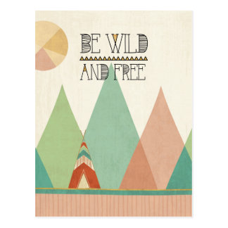 Southwest Geo II| Be Wild and Free Postcard