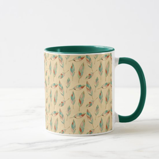 Southwest Geo Step | Coral Feather Pattern Mug