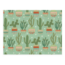 Southwest Geo Step | Potted Cactus Pattern Postcard