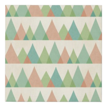 Art Themed Southwest Geo Step | Teal & Coral Triangles Faux Canvas Print