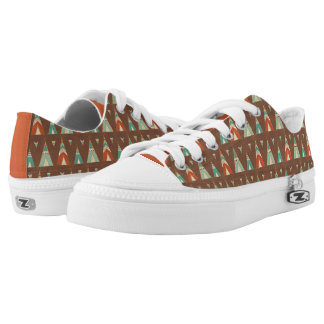 Southwest Geo Step | Teal Teepee Pattern Low-Top Sneakers