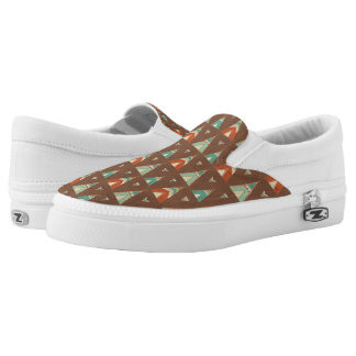 Southwest Geo Step | Teal Teepee Pattern Slip-On Sneakers