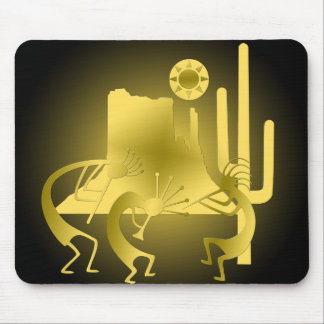 Southwest Kokopelli in Black & Gold Mouse Pad