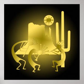 Southwest Kokopelli in Black & Gold Poster