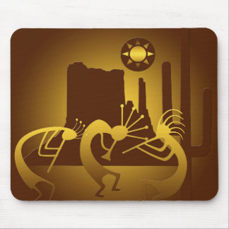 Southwest Kokopelli in Bronze and Gold Mouse Pad