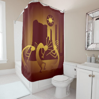 Southwest Kokopelli in Burgundy and Gold Shower Curtain