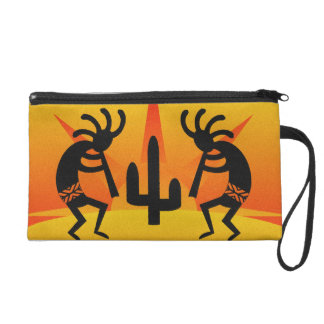 Southwest Kokopelli Orange Yellow Desert Sunset Wristlet Purse