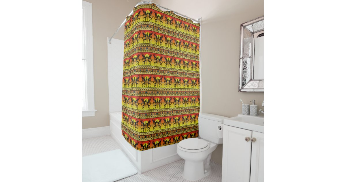 Southwest Kokopelli Pattern Yellow And Red Shower Curtain