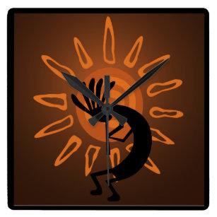 Southwest Kokopelli Sun Rustic Clock