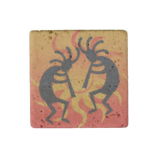 Southwest Kokopelli Travertine Magnet Stone Magnet