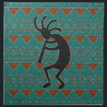 "Southwest Kokopelli Tribal Design Cloth Napkin<br><div class=""desc"">Features a turquoise and brown kokopelli tribal design.</div>"