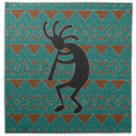 Southwest Kokopelli Tribal Design Cloth Napkin<br><div class='desc'>Features a turquoise and brown kokopelli tribal design.</div>
