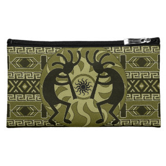 Southwest Kokopelli Tribal Sun Aztec Print Pattern Makeup Bag
