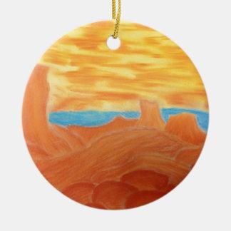 Southwest Landscape Chalk Drawing Ceramic Ornament