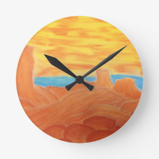 Southwest Landscape Chalk Drawing Round Wall Clock