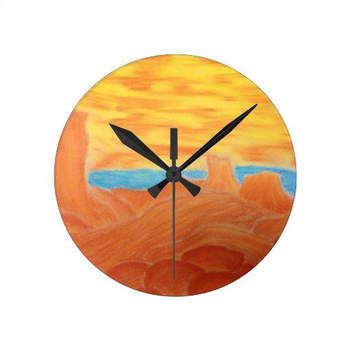 Southwest Landscape Chalk Drawing Clocks