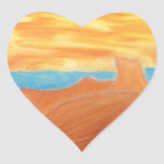 Southwest Landscape Chalk Drawing Heart Sticker