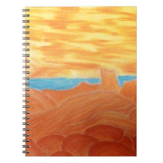 Southwest Landscape Chalk Drawing Spiral Note Books
