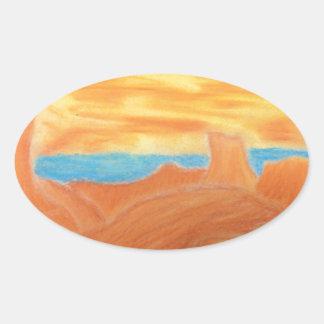 Southwest Landscape Chalk Drawing Oval Sticker