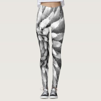 Southwest Leggings, Agave Black and White w/Name