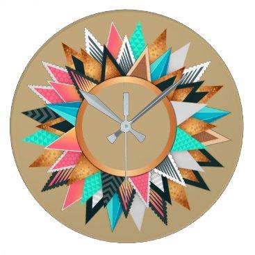 Aztec Themed Southwest Mexican Aztec Pattern Vivid Color Trendy Large Clock