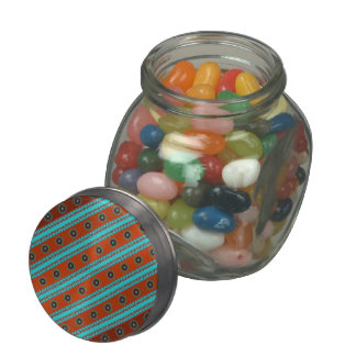 Southwest Motif Glass Candy Jar w/ Jelly Beans