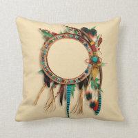 Southwest native american turquoise bow arrow throw pillow