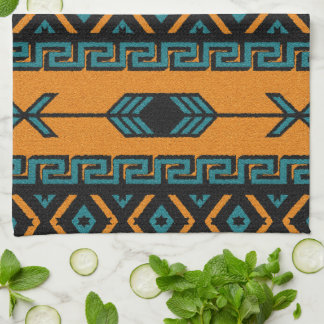 Southwest Orange And Turquoise Aztec Pattern Kitchen Towel
