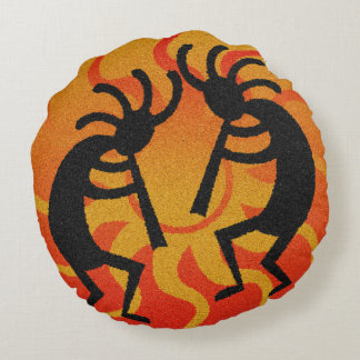 Southwest Orange Tribal Desert Sun Kokopelli Round Pillow