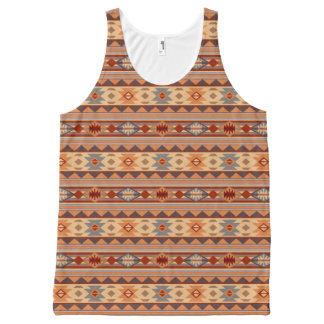 Southwest Pattern Design Tan All-Over-Print Tank Top