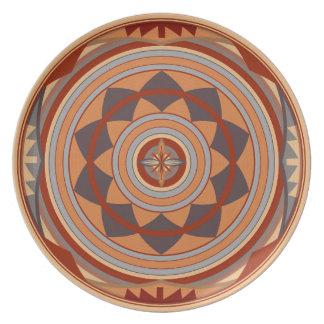 Southwest Pattern Design Tan Melamine Plate