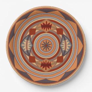 Southwest Pattern Design Tan Paper Plate