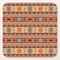 Southwest Pattern Design Tan Square Paper Coaster