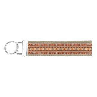 Southwest Pattern Design Tan Wrist Keychain
