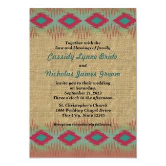 Southwest Pattern Wedding 5x7 Paper Invitation Card
