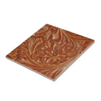 southwest pattern western country tooled leather ceramic tile