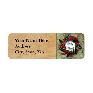 Southwest Pepper Wreath Old Wood Feliz Navidad Label