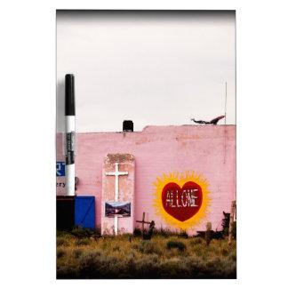 Southwest Pink Art Stucco Building Dry Erase Board
