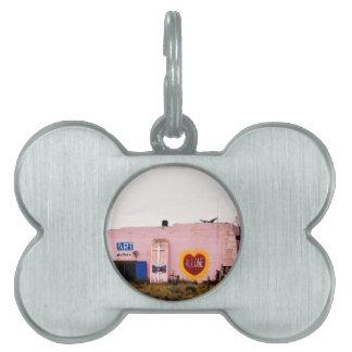 Southwest Pink Art Stucco Building Pet ID Tag