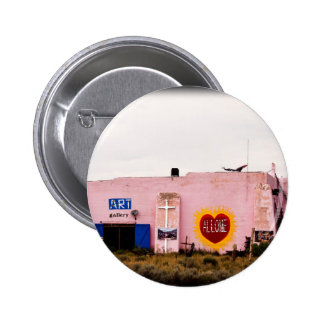 Southwest Pink Art Stucco Building Pinback Button
