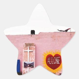 Southwest Pink Art Stucco Building Star Sticker