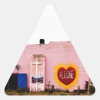 Southwest Pink Art Stucco Building Triangle Sticker