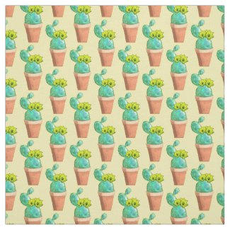 Southwest Potted Yellow Flowering Cactus Fabric