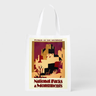 Southwest Pueblos WPA National Parks Poster Grocery Bags